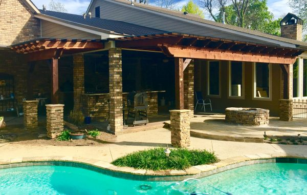 Attached Pergola Kit by Pool