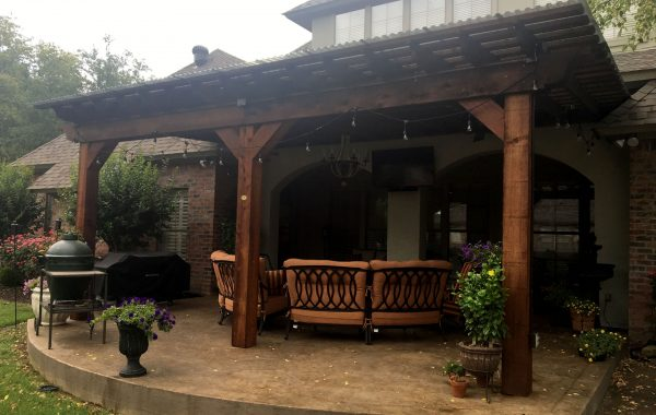 Attached Pergola Kit Concrete Patio